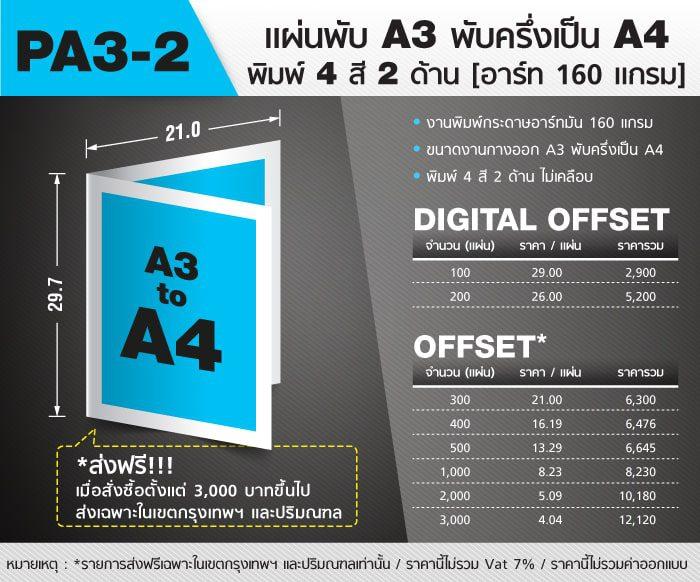 แผ่นพับ Pamphlet A3 2 Folds