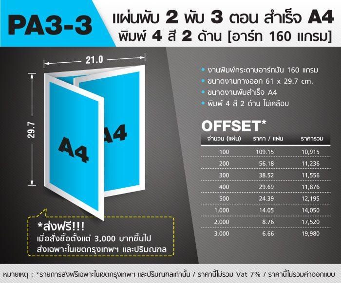แผ่นพับ Pamphlet A3 3 Folds